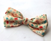 Bow Tie in Peach Blossoms - clip on - ring bearer attire, groomsmen accessories or gifts