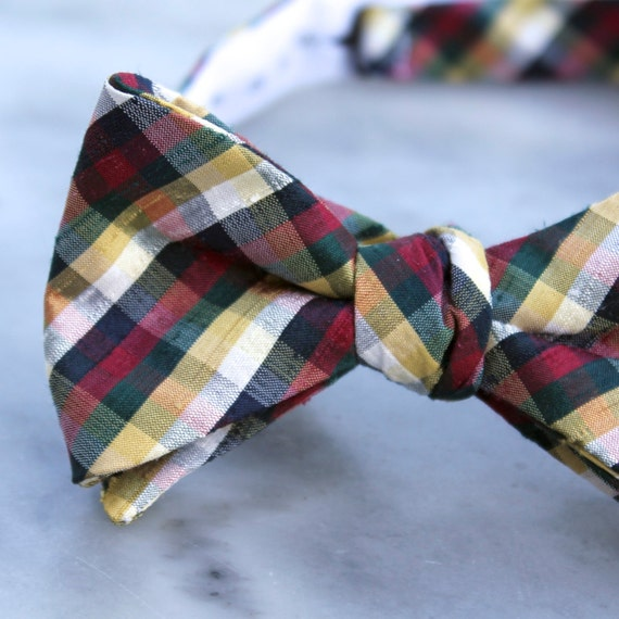 Riverboat Red, Green and Gold Plaid Silk Bow Tie - Clip on, pre-tied with strap or self tying