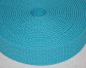 "Turquoise  1 and  1/4"" Cotton Webbing for belts, key chains, dog collars and more Sold by the Yard~~~Ready to Ship"