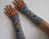 Grey Wristwarmers with coloured bobbles - fingerless gloves - mittens - mits