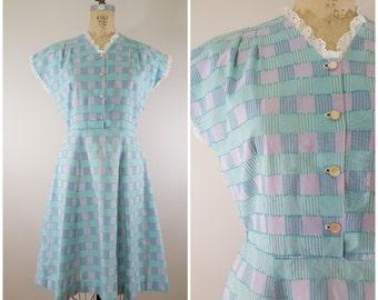 Vintage 1950s Dress / Pastel Plaid Day Dress / Medium