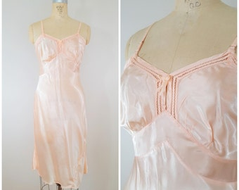 Vintage Full Slip / Pink Rayon Silky Slip / Medium / 36 Bust
