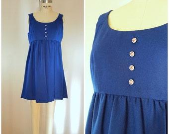 Vintage 1960s MOD Dress / Jumper / Royal Blue / XS