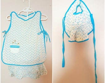 Vintage 1950s Baby Outfit / Smock, Bloomers, and Sun Bonnet / Flower Pot