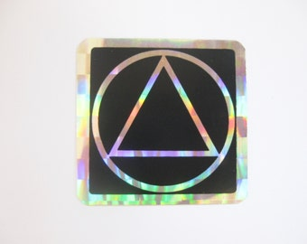 1980s AA sticker Alcoholics Anonymous 2 x 2 prism reflective SOBRIETY circle triangle