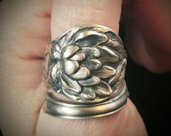 Magnolia Flower Ring, Floral Ring, Sterling Silver Spoon Ring, 1903 Watson Magnolia Jewelry, Handmade Gift for Her, Custom Ring Size (6175)