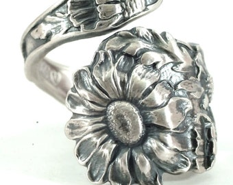 Daisy Ring, Sterling Silver Spoon Ring, Daisy Flower Spoon Ring, Antique Flower Ring, Handmade Ring, Gift for Her, Custom Ring Size (5860)