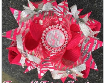 Hot Pink Zebra Foil Personalized Initials Boutique Hairbow