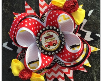 "Fireman ""My Daddy is a Firefighter"" Boutique Hairbow"