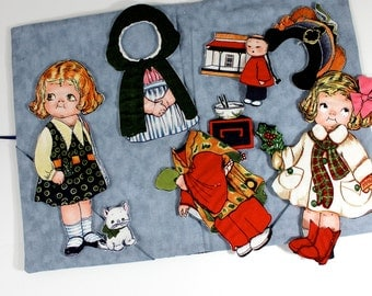 Cloth Paper Dolls  Soft Book Travel Toy Classic Children's Toys Valentines Day Gift