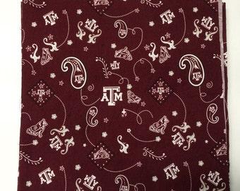 13 10 inch squares Texas A&M Aggies Bandana Paisley themed Layer Cake Precut Fabric Squares
