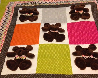 Baby Quilt / Baby Blanket / Handmade Quilt / Bear Quilt / Baby Shower Gift / 3D/ Animal Quilt