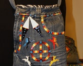 Up cycled Jean Messenger Bag
