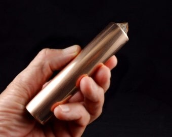 Pyrite Copper Orgone Generator Wand.  Orgonite with Tibetan Crystal, Phenacite, Petalite, Tourmaline, Shungite, Rhodizite, Selenite (h28)