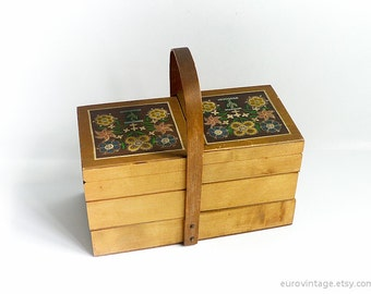 Vintage Wood Sewing Box 60s / Wooden Sewing Box / Wooden Storage Box