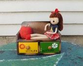 Vintage Kawaii Sewing Notions Box With Pose Doll and Pin Cushion