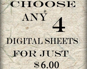 SPECIAL SALE  Bundle 4 Collage Sheets of Your Choice (S-4)