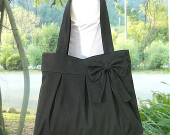 black cotton fabric purse with bow / canvas tote bag / shoulder bag / hand bag / diaper bag - zipper closure