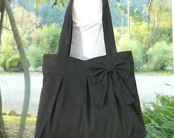 black cotton fabric purse with bow / canvas tote bag / shoulder bag / hand bag / diaper bag - zipper closure