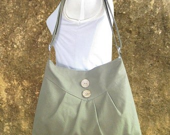 Olive green cross body bag / messenger bag / shoulder bag / diaper bag  - cotton canvas