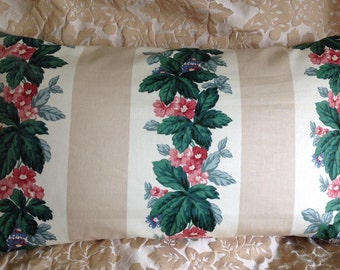 Vintage Waverly pillow cover lovely flower garland and striped polished cotton