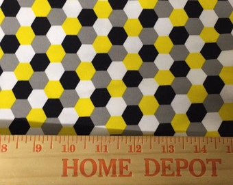 Robert Kaufman yellow black white honeycomb on gray cotton Lycra