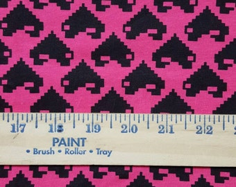 Black Video Game Hearts on hot Pink Cotton Jersey Knit FAbric