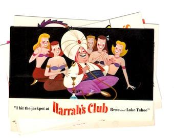 5 Vintage Harrah's Casino Reno Nevada Chrome Postcards Blank - Wedding Guestbook