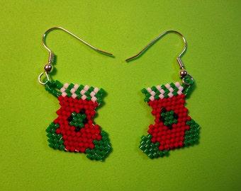 Christmas Sock Bead Earrings