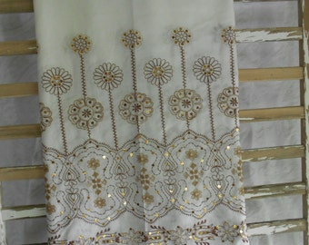 Creamy White Embroidered Cotton Fabric - Copper Sequins with Tan/Brown Embroidery - Sequined Fabric -Embellished Cotton Fabric-Ready to Ship
