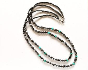 Vintage Turquoise and Hematite Bead Beaded Southwestern Necklace