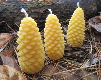 "Pinecone Beeswax Candles - Set of 3 Medium size, 1.5"" wide"
