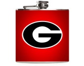 Georgia Bulldogs Football Flask, Red Leather, UGA, Sports Team, Custom Stainless Steel 6oz Hip Flask