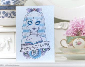 Undying Love zombie tattoo handmade Valentine's Day card
