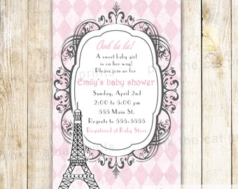 Paris Invitation Card - Baby Girl Shower Kids Birthday Tower Eiffel Tower Pink Vintage Ols Style Personalized Invites Girl Party Ideas