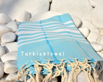 Turkishtowel-Soft-Hand woven,warp&weft cotton Bath,Beach Towel-Point twill pattern,Natural cream stripes on the Aqua-Light Turquoise