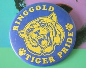 1980s Vintage TIGER PRIDE Button Pin....retro accessories. kitsch. flair. jewelry. ringgold tiger. football. yellow and black. sports