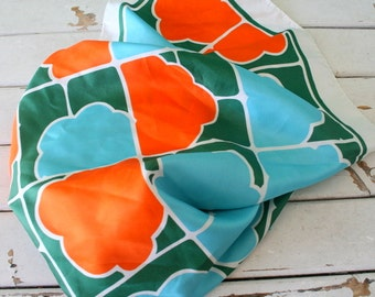 Vintage RETRO SCARF..geometric. orange. green. blue. white. silky scarf. 70s accessories. retro. mod. twiggy. geometric. colorful. bright.