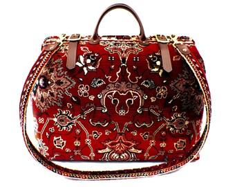 Carpet Bag, Weekender / Overnight / Carry on / Indian Agra Red Carpet Travel Bag