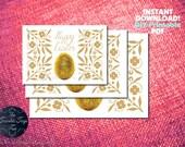 DIY PRINTABLE Easter Card Set 3 Sizes Flat & Folded Modern Classic Template Design Pdf Greeting Golden Glitter Egg Rustic Online 2016 Trend
