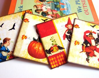 Halloween Note Card Set - Victorian Vintage Boys Girls Pumpkin Jack O Lantern Bats Black Cat Witch On A Broom - 4 Sm Square Greeting Cards