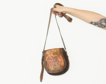 Vintage 60s Hand Tooled Leather BOHO Bag , Painted Leather Cross Body Bag
