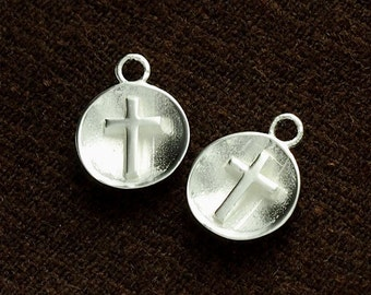 2 of 925 Sterling Silver Concave Disc Cross Charms 10mm .  :tm0134