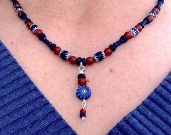 Ethnic Blue Chevron Necklace Antique Trade Beads Venetian Glass Rosetta Star Coin Droplet  / Carnelian + Lapis Lazuli Gemstone Beads 20 Inch