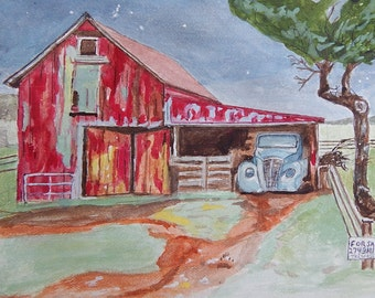 Forgotten Barn and Truck Watercolor Painting