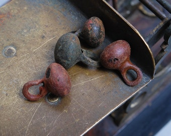 Set of 4 Antique miniature metal charms, buttons, dark patina (n8)