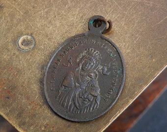 Antique religious brass medal. Mary, mother of Jesus, Catholic, Christianity (IL)