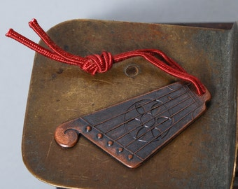 Vintage copper charm, shape of musical instrument Lyre