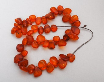 48 pieces  Antique Natural Genuine Baltic Amber beads, freeform polished beads