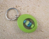 Key Ring, Lime Enameled Metal, Beaded, Artisan Lampwork Glass, Hand Crafted, Unique, Custom Beadable, Sturdy, Unique, OOAK, SRAJD, KC-15